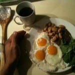 Eggs, beans, lentils and spinach breakfast