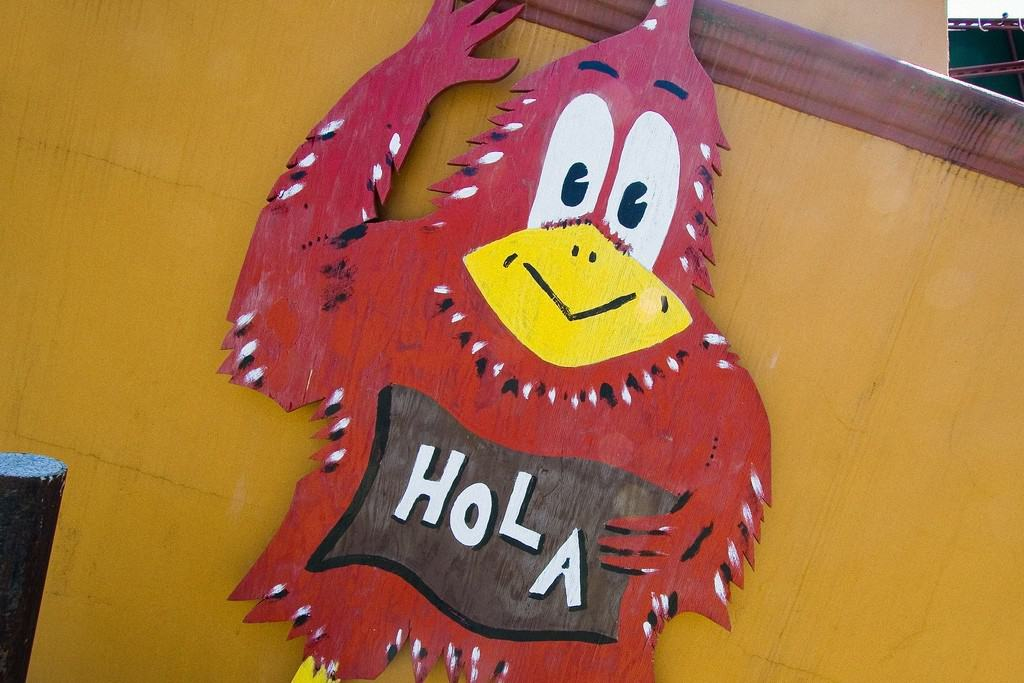 Chicken with Hola inscription