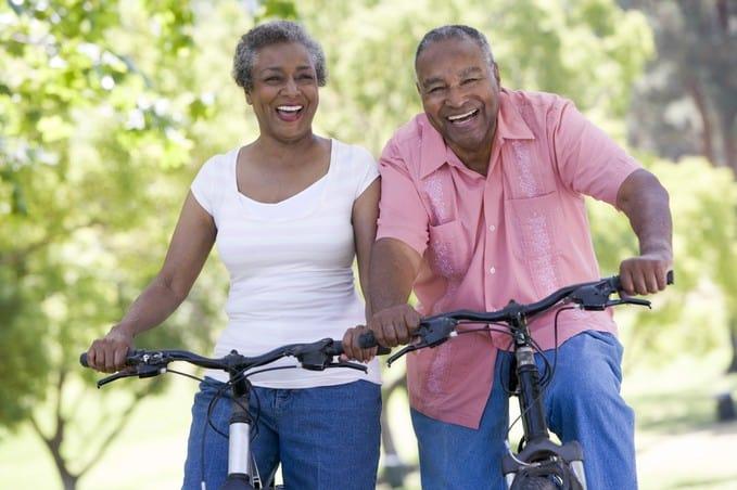 Senior couple on cycle ride