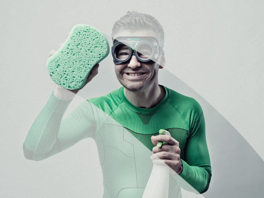 Superhero Cleaning With Sponge And Detergent